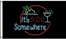 It's Five O' Clock Somewhere Cocktail Glass & Palm Tree 5'x3' Flag